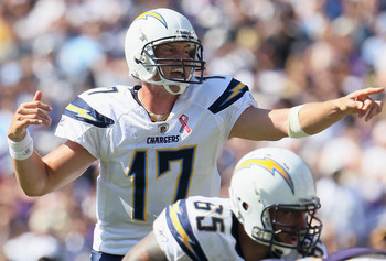 SAN DIEGO, CA - SEPTEMBER 11:  Quarterback Philip Rivers #17 of the San Diego Chargers calls out a play against the Minnesota Vikings at Qualcomm Stadium on September 11, 2011 in San Diego, California.  (Photo by Jeff Gross/Getty Images)