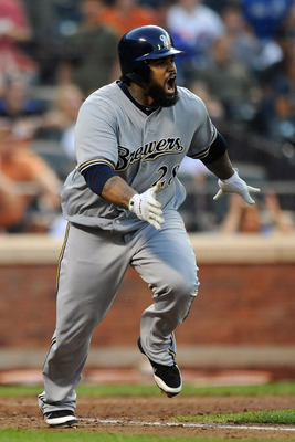 NEW YORK, NY - AUGUST 20:  Prince Fielder #28 hits a one run RBI single in the ninth inning during a game against the New York Mets at Citi Field on August 20, 2011 in the Flushing neighborhood of the Queens borough of New York City.  (Photo by Patrick Mc