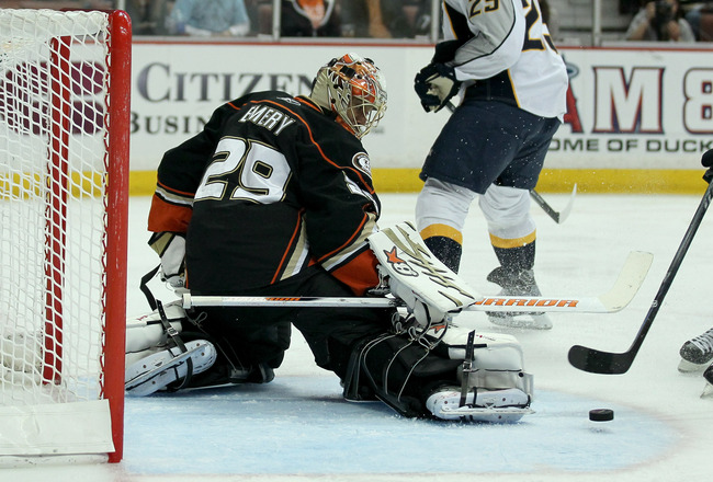 ANAHEIM, CA - APRIL 22:  Goalie Ray Emery #29 of the Anaheim Ducks makes a skate save against the Nashville Predators in Game Five of the Western Conference Quarterfinals during the 2011 NHL Stanley Cup Playoffs at Honda Center on April 22, 2011 in Anahei