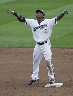 MILWAUKEE, WI - SEPTEMBER 11:  Nyjer Morgan #2 of the Milwaukee Brewers celebrates after hitting a double during the 7th inning of game action against the Philadelphia Phillies at Miller Park on September 11, 2011 in Milwaukee, Wisconsin. The Brewers beat