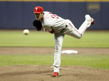 MILWAUKEE, WI - SEPTEMBER 8: Starter Cole Hamels #35 of the Philadelphia Phillies pitches against the Milwaukee Brewers at Miller Park on September 8, 2011 in Milwaukee, Wisconsin. The Phillies beat the Brewers 7-2.  (Photo by Mark Hirsch/Getty Images)