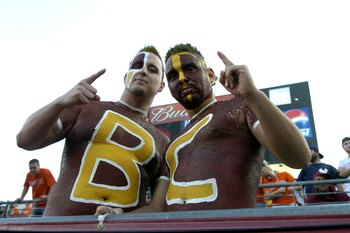 JACKSONVILLE, FL - DECEMBER 1: Fans of the Boston College Eagles cheer during play against the Virginia Tech Hokies in the ACC Championship Game at Jacksonville Municipal Stadium on December 1, 2007 in Jacksonville, Florida.  The Hokies won 30 - 16.  (Pho