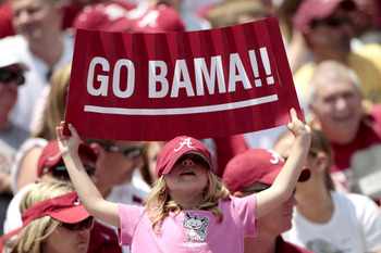 TUSCALOOSA, AL - APRIL 17: One of the 96,000 Alabama Crimson Tide fans that attended the Alabama spring football game at Bryant Denny Stadium on April 17, 2010 in Tuscaloosa, Alabama. (Photo by Dave Martin/Getty Images)
