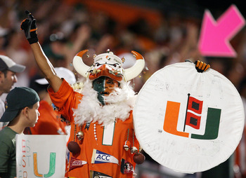 FORT LAUDERDALE, FL - SEPTEMBER 17:A Miami Hurricanes fan celebrates while taking on the Georgia Tech Yellow Jackets at Land Shark Stadium on September 17, 2009 in Fort Lauderdale, Florida. Miami defeated Georgia Tech 33-17.  (Photo by Doug Benc/Getty Ima
