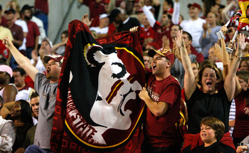 RALEIGH, NC - OCTOBER 16:  Florida State Seminoles' fans celebrate after a touchdown against the North Carolina State Wolfpack during the game at Carter-Finley Stadium on September 16, 2008 in Raleigh, North Carolina.  (Photo by Kevin C. Cox/Getty Images)