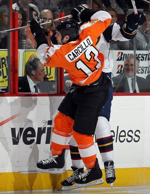 PHILADELPHIA, PA - MARCH 12:  Daniel Carcillo #13 of the Philadelphia Flyers skates against the Atlanta Thrashers on March 12, 2011 at Wells Fargo Center in Philadelphia, Pennsylvania.  (Photo by Jim McIsaac/Getty Images)