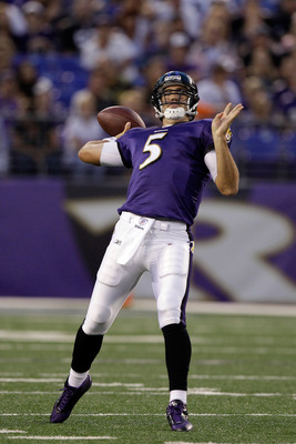 BALTIMORE, MD - AUGUST 19: Quarterback Joe Flacco #5 of the Baltimore Ravens throws a pass against the Kansas City Chiefs during a preseason game at M&T Bank Stadium on August 19, 2011 in Baltimore, Maryland. The Ravens won 31-13. (Photo by Rob Carr/Getty