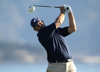 PEBBLE BEACH, CA - FEBRUARY 12:  Professional football player Tony Romo tees off on the 18th hole during the third round of the AT&T Pebble Beach National Pro-Am at the Pebble Beach Golf Links on February 12, 2011 in Pebble Beach, California.  (Photo by E