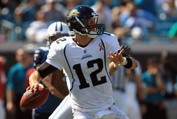 JACKSONVILLE, FL - SEPTEMBER 11:  Luke McCown #12 of the Jacksonville Jaguars against the Tennessee Titans during their season opener at EverBank Field on September 11, 2011 in Jacksonville, Florida.  (Photo by Streeter Lecka/Getty Images)