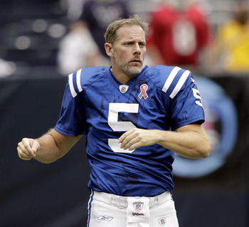 HOUSTON - SEPTEMBER 11:  Quarterback Kerry Collins #5 of the Indianapolis Colts during game action against the Houston Texans at Reliant Stadium on September 11, 2011 in Houston, Texas. The Texans won 34-7.  (Photo by Bob Levey/Getty Images)