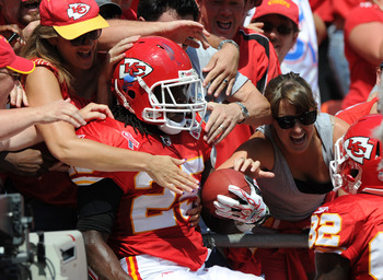 KANSAS CITY, MO - SEPTEMBER 11:  Running back Jamaal Charles #25 of the Kansas City Chiefs jumps into the stands after scoring a touchdown against  the Buffalo Bills during the second quarter on September 11, 2011 at Arrowhead Stadium in Kansas City, Miss