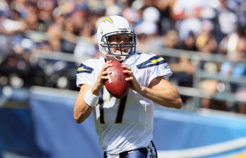SAN DIEGO, CA - SEPTEMBER 11:  Quarterback Philip Rivers #17 of the San Diego Chargers drops back to pass against the Minnesota Vikings at Qualcomm Stadium on September 11, 2011 in San Diego, California.  (Photo by Jeff Gross/Getty Images)
