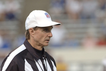 NFL referee Bill Leavy as the New Orleans Saints host the Indianapolis Colts at Veterans Memorial Stadium in Jackson, Mississippi on August 26, 2006. The Colts won 27-14.  (Photo by Al Messerschmidt/Getty Images)