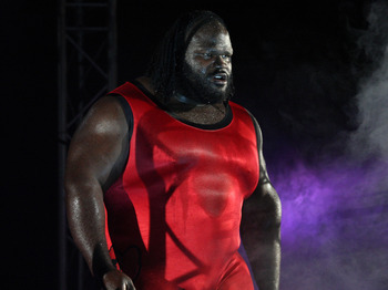 DURBAN, SOUTH AFRICA - JULY 08:  Mark Henry 'The World's Strongest Man' is introduced during the WWE Smackdown Live Tour at Westridge Park Tennis Stadium on July 08, 2011 in Durban, South Africa.  (Photo by Steve Haag/Gallo Images/Getty Images)