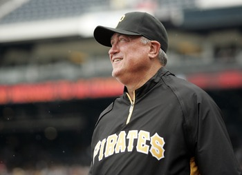 PITTSBURGH, PA - SEPTEMBER 05:  Manager Clint Hurdle #13 of the Pittsburgh Pirates checks out the weather before the start of play against the Houston Astros on September 5, 2011 at PNC Park in Pittsburgh, Pennsylvania.  (Photo by Justin K. Aller/Getty Im