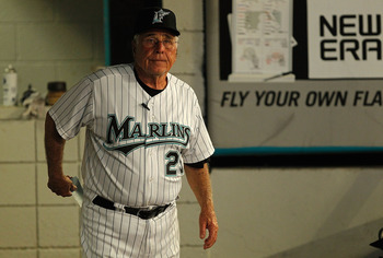 MIAMI GARDENS, FL - AUGUST 23: Manager Jack McKeon #25 of the Florida Marlins looks on during a game against the Cincinnati Reds at Sun Life Stadium on August 23, 2011 in Miami Gardens, Florida.  (Photo by Mike Ehrmann/Getty Images)