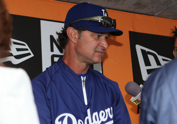 SAN FRANCISCO, CA - SEPTEMBER 11: Don Mattingly #8 of the Los Angeles Dodgers addresses the media before the game against the San Francisco Giants at AT&T Park on September 11, 2011 in San Francisco, California. (Photo by Tony Medina/Getty Images)