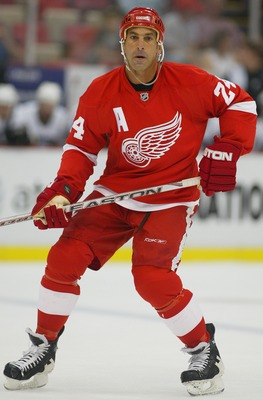 DETROIT,MICHIGAN - SEPTEMBER 21 :  Chris Chelios #24 of the Detroit Red Wings skates in a pre-season game against the Pittsburgh Penguins played at the Joe Louis Arena on September 21,2007 in Detroit,Michigan,USA. The Red Wings won 1-0 in overtime. (Photo
