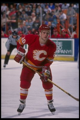 1989-1990:  Defenseman Gary Suter of the Calgary Flames. Mandatory Credit: Ken Levine  /Allsport