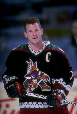 30 Jan 1998:  Leftwinger Keith Tkachuk of the Phoenix Coyotes looks on during a game against the Buffalo Sabres at the Marine Midland Arena in Buffalo, New York.  The game ended in a tie, 3-3. Mandatory Credit: Rick Stewart  /Allsport