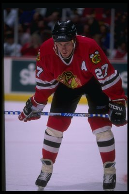 1 Mar 1995:  Center Jeremy Roenick of the Chicago Blackhawks looks on during a game against the Anaheim Mighty Ducks at Arrowhead Pond in Anaheim, California.  The Ducks won the game, 3-1. Mandatory Credit: Al Bello  /Allsport