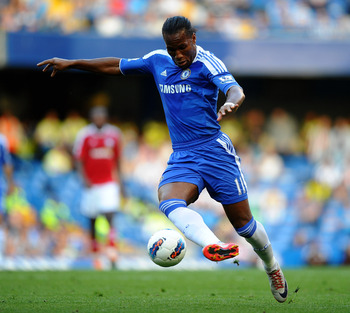 LONDON, ENGLAND - AUGUST 20:  Didier Drogba of Chelsea controls the ball during the Barclays Premier League match between Chelsea and West Bromwich Albion at Stamford Bridge on August 20, 2011 in London, England.  (Photo by Laurence Griffiths/Getty Images