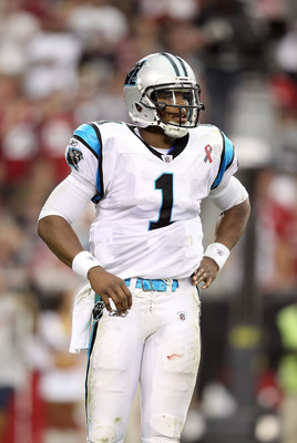 GLENDALE, AZ - SEPTEMBER 11:  Quarterback Cam Newton #1 of the Carolina Panthers during the NFL season opening game against the Arizona Cardinals at the University of Phoenix Stadium on September 11, 2011 in Glendale, Arizona. The Carindals defeated the P