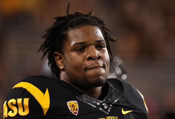 TEMPE, AZ - SEPTEMBER 09:  Linebacker Vontaze Burfict #7 of the Arizona State Sun Devils warms up before the college football game against the Missouri Tigers at Sun Devil Stadium on September 9, 2011 in Tempe, Arizona.  (Photo by Christian Petersen/Getty