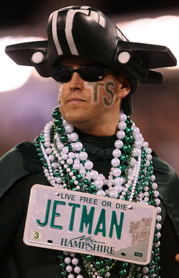 EAST RUTHERFORD, NJ - SEPTEMBER 11:  A fan of the New York Jets supports his team against the Dallas Cowboys during their NFL Season Opening Game at MetLife Stadium on September 11, 2011 in East Rutherford, New Jersey. The Jets won 27-24. (Photo by Elsa/G