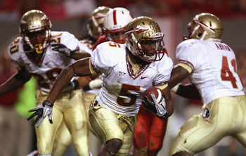 RALEIGH, NC - OCTOBER 28:  Greg Reid #5 of the Florida State Seminoles runs with the ball against the North Carolina State Wolfpack during their game at Carter-Finley Stadium on October 28, 2010 in Raleigh, North Carolina.  (Photo by Streeter Lecka/Getty