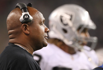 SEATTLE, WA - SEPTEMBER 02:  Head coach Hue Jackson of the Oakland Raiders looks on during the game against the Seattle Seahawks at CenturyLink Field on September 2, 2011 in Seattle, Washington. (Photo by Otto Greule Jr/Getty Images)