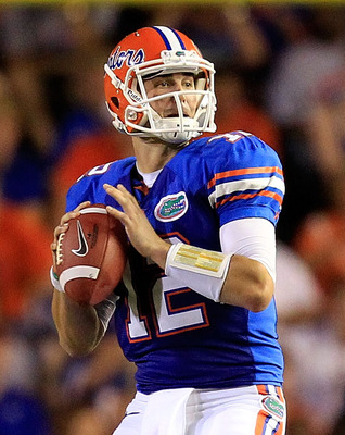 GAINESVILLE, FL - SEPTEMBER 10:  John Brantley #12 of the Florida Gators attempts a pass during a game against the UAB Blazers at Ben Hill Griffin Stadium on September 10, 2011 in Gainesville, Florida.  (Photo by Sam Greenwood/Getty Images)