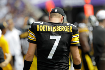 BALTIMORE, MD - SEPTEMBER 11:  Quarterbck  Ben Roethlisberger #7 of the Pittsburgh Steelers on the sidelines against the Baltimore Ravens during the second half of the season opener at M&T Bank Stadium on September 11, 2011 in Baltimore, Maryland.  (Photo