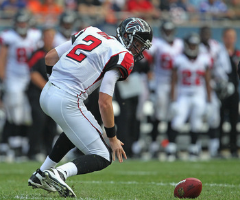 CHICAGO, IL - SEPTEMBER 11: Matt Ryan #46 of the Atlanta Falcons fumbles the ball against the Chicago Bears at Soldier Field on September 11, 2011 in Chicago, Illinois. The Bears defeated the Falcons 30-12. (Photo by Jonathan Daniel/Getty Images)