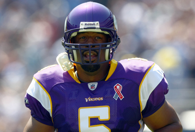 SAN DIEGO, CA - SEPTEMBER 11:  Donovan McNabb #5 of the Minnesota Vikings looks on from the field against the San Diego Chargers during their season opener on September 11, 2011 at Qualcomm Stadium in San Diego, California. (Photo by Donald Miralle/Getty
