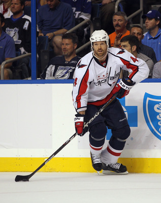 TAMPA, FL - MAY 04: Jason Arnott #44 of the Washington Capitals skates against the Tampa Bay Lightning in Game Four of the Eastern Conference Semifinals during the 2011 NHL Stanley Cup Playoffs at the St Pete Times Forum on May 4, 2011 in Tampa, Florida.
