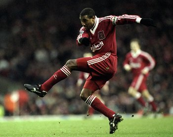 23 Dec 1995:  John Barnes of Liverpool takes a shot at goal during the FA Carling Premiership match against Arsenal played at Anfield in Liverpool, England. Liverpool won the match 3-1.  \ Mandatory Credit: Clive  Brunskill/Allsport