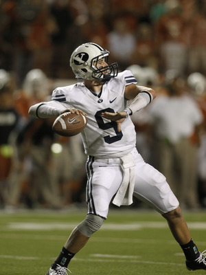 AUSTIN, TX - SEPTEMBER 10:  Quarterback Jake Heaps #9 of the BYU Cougars throws a long pass against the Texas Longhorns on September 10, 2011 at Darrell K. Royal-Texas Memorial Stadium in Austin, Texas.  Texas defeated BYU 17-16. (Photo by Erich Schlegel/