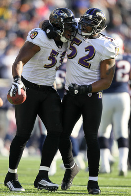 FOXBORO, MA - JANUARY 10:  (L-R) Terrell Suggs #55 and Ray Lewis #52 of the Baltimore Ravens celebrate after Suggs recovered his own forced fumble in the first quarter against the New England Patriots during the 2010 AFC wild-card playoff game at Gillette