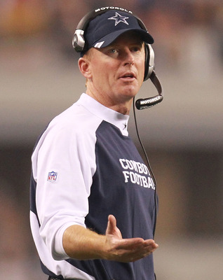 ARLINGTON, TX - AUGUST 11:  Head coach Jason Garrett of the Dallas Cowboys at Cowboys Stadium on August 11, 2011 in Arlington, Texas.  (Photo by Ronald Martinez/Getty Images)