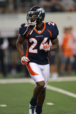 ARLINGTON, TX - AUGUST 11:  Champ Bailey #24 of the Denver Broncos at Cowboys Stadium on August 11, 2011 in Arlington, Texas.  (Photo by Ronald Martinez/Getty Images)