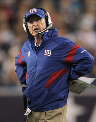 FOXBORO, MA - SEPTEMBER 1:  Tom Coughlin of the New York Giants watches the action during a game with the New England patriots at Gillette Stadium on September 1, 2011 in Foxboro, Massachusetts. (Photo by Jim Rogash/Getty Images)