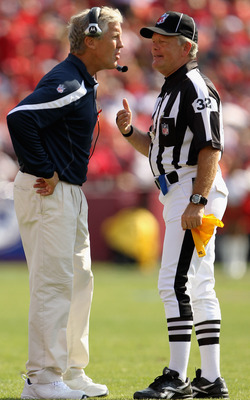 SAN FRANCISCO, CA - SEPTEMBER 11:  Seattle Seahawks head coach Pete Carroll talks with line judge Jeff Bergman during their season opener against the San Francisco 49ers at Candlestick Park on September 11, 2011 in San Francisco, California.  (Photo by Ez