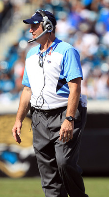 JACKSONVILLE, FL - SEPTEMBER 11:  Head coach Mike Munchak of the Tennessee Titans against the Jacksonville Jaguars during their season opener at EverBank Field on September 11, 2011 in Jacksonville, Florida.  (Photo by Streeter Lecka/Getty Images)