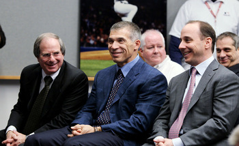 NEW YORK, NY - FEBRUARY 04: (L-R) COO Lonn Trost, manager Joe Girardi and general manager Brian Cashman of the New York Yankees attend the press conference to announce the retirement of Andy Pettitte (not pictured) on February 4, 2011 at Yankee Stadium in