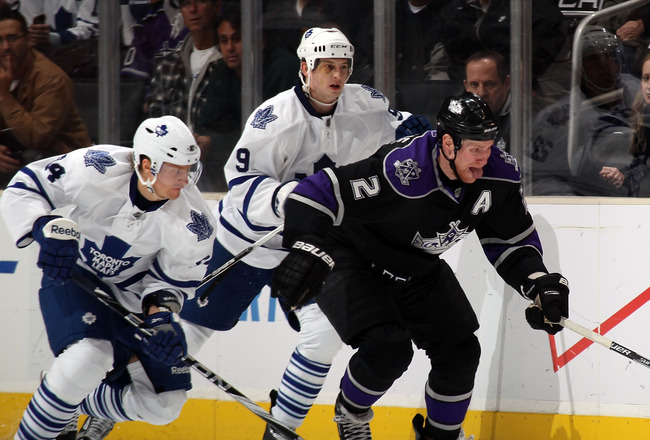 LOS ANGELES, CA - JANUARY 10: Matt Greene #2 of the Los Angeles Kings skates against the Toronto Maple Leafs at the Staples Center on January 10, 2011 in Los Angeles, California.  (Photo by Bruce Bennett/Getty Images)