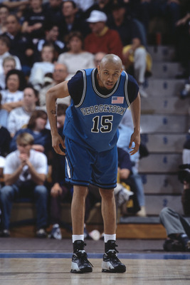 29 Dec 2001:  Harvey Thomas #15 of the Georgetown Hoyas plays defense during the NCAA basketball game against the UCLA Bruins at Pauley Pavilion in Los Angeles, California.  The Bruins defeated the Hoyas 98-91.Mandatory Credit:  Jeff Gross/Getty Images