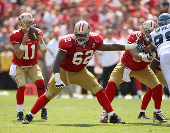 SAN FRANCISCO, CA - SEPTEMBER 11:  Chilo Rachal #62 of the San Francisco 49ers in action during their season opener against the Seattle Seahawks at Candlestick Park on September 11, 2011 in San Francisco, California.  (Photo by Ezra Shaw/Getty Images)