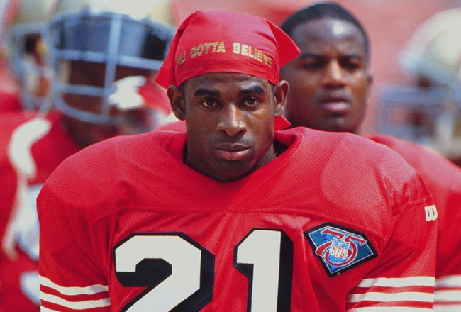 18 SEP 1994:  SAN FRANCSICO CORNER DEION SANDERS TAKES TO THE FIELD BEFORE THE 49ERS 34-19 VICTORY OVER THE LOS ANGELES RAMS AT ANAHEIM STADIUM IN ANAHEIM, CALIFORNIA.  Mandatory Credit: Al Bello/ALLSPORT