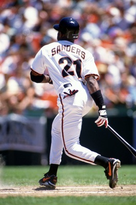 29 Jul 1995:  Outfielder Deion Sanders of the San Francisco Giants watches the flight of the ball following an at-bat during the Giants 5-1 loss to the Atlanta Braves at Candlestick Park in San Francisco, California.   Mandatory Credit: Otto Greule/ALLSPO